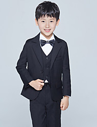 cheap -Burgundy Black Ocean Blue Cotton Ring Bearer Suit - Five-piece Suit Includes  Jacket Pants Vest Shirt Bow Tie