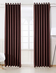 cheap -Rod Pocket Grommet Top Tab Top Double Pleat Two Panels Curtain Modern Solid Bedroom Polyester Material Curtains Drapes Home Decoration