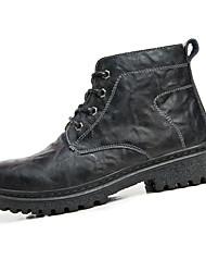 Masculino Botas Conforto Coturnos Pele Inverno Casual Caminhada Conforto Coturnos Cadarço Rasteiro Preto Castanho Escuro 5 a 7 cm