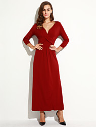Women's Plus Size Boho Sheath Dress,Solid Deep V Maxi Long Sleeve Red / Black / Purple Cotton / Polyester Fall