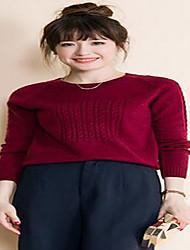 economico -Per donna Quotidiano Tinta unita Casual Pullover, Rotonda Manica lunga Inverno Autunno