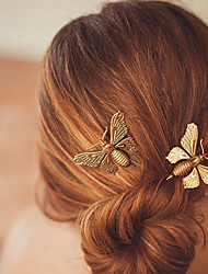 Women Crystal Acrylic Alloy Luxurious and Beautiful Hair Accessory Fashion Metal Butterfly Hairpin  1 Piece