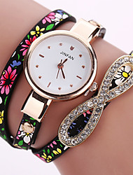 cheap -Women's Fashion Watch Bracelet Watch Wrist watch Colorful Quartz PU Band Vintage Flower Bohemian Charm Bangle Cool Casual Multi-Colored