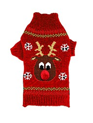Недорогие -Кошка / Собака Свитера / Рождество Одежда для собак Северный олень Черный / Красный Акриловые волокна Костюм Для домашних животных Муж. / Жен. Рождество / Новый год