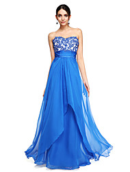 cheap -A-Line Sweetheart Floor Length Chiffon Prom Formal Evening Dress with Beading Appliques Sash / Ribbon Ruching by TS Couture®
