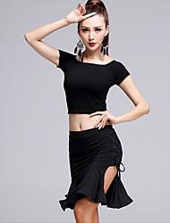 Latin Dance Outfits Women's Performance Modal Milk Fiber 2 Pieces Short Sleeve High Top Skirt
