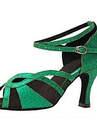 cheap -Women's Latin Jazz Swing Shoes Salsa Sparkling Glitter Sandal Heel Indoor Performance Professional Beginner Practice Sparkling Glitter