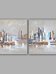 billige -Hang-Painted Oliemaleri Hånd malede - Landskab Klassisk Moderne Lærred