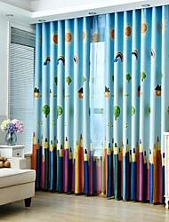 abordables -Tringle oeillets Onglet supérieur Plis double Plis crayon Deux Panneaux Le traitement de fenêtre Rustique, Imprimé Fleur Chambre à coucher