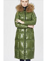 preiswerte -Damen Daunen Mantel,Lang Sexy Einfach Ausgehen Lässig/Alltäglich Übergröße Solide-Polyester Weiße Entendaunen Langarm Mit Kapuze