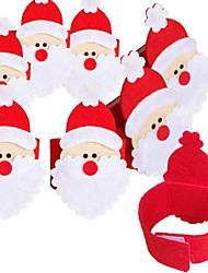4pçs conjunto de não-tecidos guardanapo de Santa anel Natal guardanapo