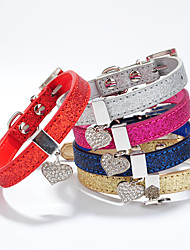 cheap -Cat Dog Collar Adjustable / Retractable Heart Rhinestone PU Leather Gold Silver Rose Red Blue