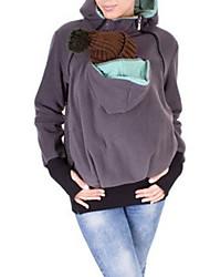 T-shirt Da donna Casual Semplice Primavera Autunno,Tinta unita Con cappuccio Cotone Manica lunga Medio spessore
