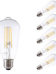 baratos -GMY® 6pcs 450 lm E26/E27 Lâmpadas de Filamento de LED ST58 4 leds COB Regulável Decorativa Branco Quente AC 220-240V