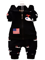 Boy's Cotton Fashion Spring/Fall Casual/Daily Cartoon Bear Print Baby Sports Two-Piece Clothing Set
