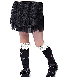 cheap -Girls' Daily Sports Solid Skirt Spring Fall Lace Black
