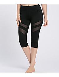 abordables -Pantalones de yoga 3/4 Medias/Corsario Prendas de abajoSecado rápido Transpirable Suave Compresión A prueba de resbalones Antibacteriano
