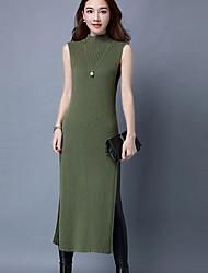 Tricot Robe Femme Décontracté / Quotidien simple,Couleur Pleine Col Roulé Midi Sans Manches Coton Automne Hiver Taille Normale Elastique