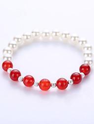 abordables -Homme Femme Agate Bracelets de rive - Perle, Imitation de perle, Turquoise Bracelet Rouge / Vert / Noir / Gris Pour Soirée Anniversaire Toutes nos félicitations
