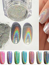 2g specchio scatola chiodo polvere d'argento gli accessori del chiodo colorati prendono tampone