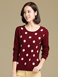cheap -Women's Work Holiday Cute Sexy Polka Dot Round Neck Pullover, Long Sleeves Winter Spring Cotton