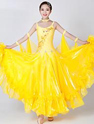 Danse de Salon Robes Femme Spectacle Elasthanne Tulle Fantaisie 2 Pièces Sans manche Robe Tour de Cou