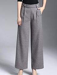 abordables -Mujer Casual Tiro Medio Rígido Perneras anchas Chinos Pantalones, Cuadrícula Poliéster Otoño