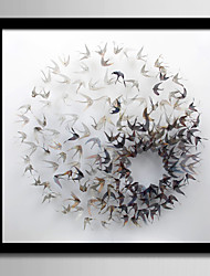 abordables -Abstrait Animal Toile Encadrée Set de Cadres Wall Art,PVC Matériel Noir Sans Passepartout Avec Cadre For Décoration d'intérieur Cadre Art