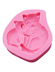 cheap -Mom Cat and Cat Baby Silicone 3D Mold Cookware Dining Bar Non-Stick Cake Decorating Fondant Mould Tools SM-045