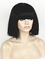 Fashion Wig Women's Short Bob Kinky Straight Full Bangs Synthetic Hairpieces Black Cosplay Wigs