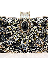 Women Bags All Seasons Cowhide Evening Bag Pearl Crystal/ Rhinestone Acrylic Jewels for Wedding Event/Party Formal Black