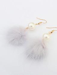economico -Orecchini a goccia Stile semplice Di tendenza Europeo Perla Perle finte Lega Bianco Nero Grigio Rosso Gioielli Per Feste Quotidiano 1 paio