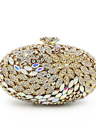 cheap -Women Bags Metal Evening Bag Crystal/ Rhinestone Flower for Wedding Event/Party Formal All Seasons Golden Lilac-pink