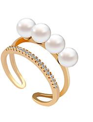 Ring Strass Perle Künstliche Perle Strass Imitation Diamant Aleación Gold Silber Golden Schmuck Hochzeit Party 1 Stück