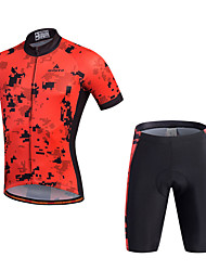 cheap -Miloto Men's Short Sleeves Cycling Jersey with Shorts - Black Bike Shorts Jersey Clothing Suits, 3D Pad, Quick Dry, Breathable,