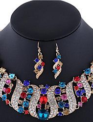 cheap -Women's Crystal Jewelry Set - Rhinestone, Rose Gold Plated, Imitation Diamond Luxury, Bohemian, Boho Include Statement Necklace / Earrings Pink / Rainbow / Champagne For Wedding / Party / Special