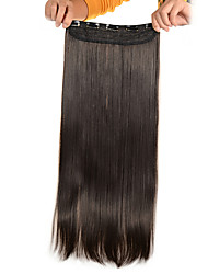 cheap -5 Clips Long Straight Light Brown (#6) Synthetic Hair Clip In Hair Extensions For Ladies
