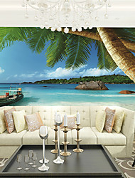 cheap -JAMMORY Wallpaper For Home Wall Covering Canvas Adhesive required Mural Seaside Scenery XL XXL XXXL