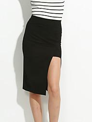 cheap -Women's Asymmetrical Solid Red / Black Skirts,Street chic Knee-length