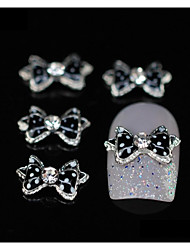 cheap -10pcs  Black Dots Bow Tie Rhinestone Alloy Accessories Finger Tips Nail Art Decoration