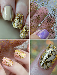 1 Sheet Embossed 3D Nail Stickers Blooming Flower 3D Nail Art Stickers Decals