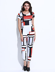 Women's Geometric White Jumpsuits , Club / Casual / Day Round Neck Short Sleeve