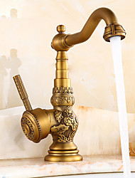 cheap -Kitchen faucet - Traditional Antique Brass Standard Spout Centerset