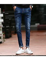 Herre Afslappet Mikroelastisk Skinny Jeans Bukser, Alm. taljede Bomuld Ensfarvet Vinter Efterår Alle årstider