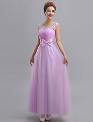 cheap -Sheath / Column One Shoulder Floor Length Tulle Bridesmaid Dress with Beading Appliques Bow(s) Sash / Ribbon Bandage by LAN TING BRIDE®