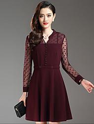 Damen Hülle Kleid-Ausgehen Übergröße Street Schick Patchwork V-Ausschnitt Übers Knie Langarm Rot Schwarz Polyester Frühling Herbst