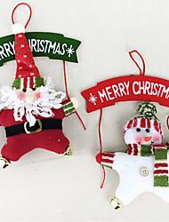 Decoração Decorações Natalinas Grinalda de Natal Brinquedos Ternos de Papai Noel Boneco de neve 3D Madeira 2 Peças Natal Dom