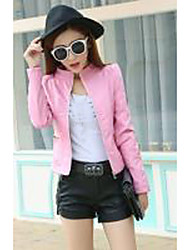 cheap -Women's Chic & Modern Leather Jacket - Solid Color, Formal Style / Spring / Fall