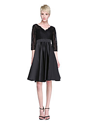 cheap -A-Line V-neck Knee Length Lace Satin Bridesmaid Dress with Sash / Ribbon Pleats by LAN TING BRIDE®