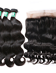cheap -Brazilian Hair Body Wave Human Hair Weaves 4pcs Hair Weft with Closure Daily